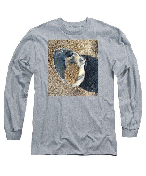 Long Sleeve T-Shirt featuring the photograph Clam Shell On Sea Girt Beach by Melinda Saminski