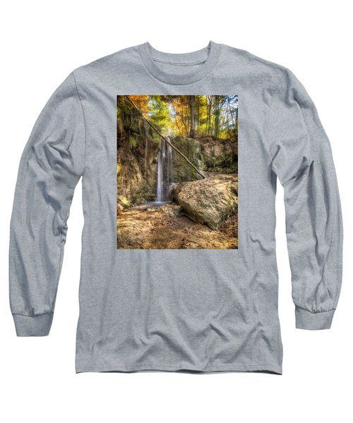 Long Sleeve T-Shirt featuring the photograph Clark Creek Nature Area Waterfall No. 1 by Andy Crawford