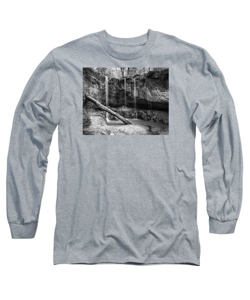 Long Sleeve T-Shirt featuring the photograph Clark Creek Nature Area Waterfall No. 2 In Black And White by Andy Crawford