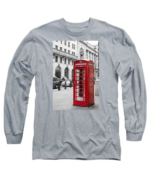 Red Telephone Box In London England Long Sleeve T-Shirt by John Williams