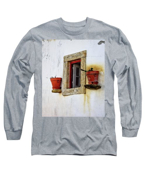 Long Sleeve T-Shirt featuring the photograph Clay Pots In A Portuguese Village by Marion McCristall
