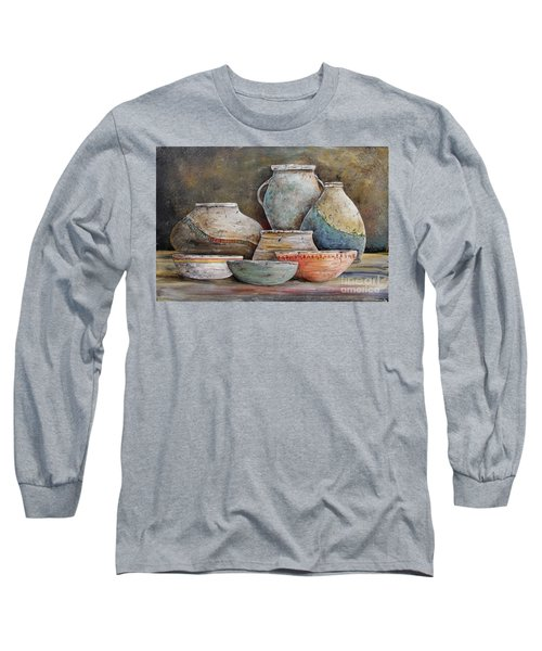 Long Sleeve T-Shirt featuring the painting Clay Pottery Still Lifes-a by Jean Plout