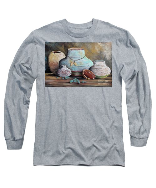 Long Sleeve T-Shirt featuring the painting Clay Pottery Still Lifes-b by Jean Plout