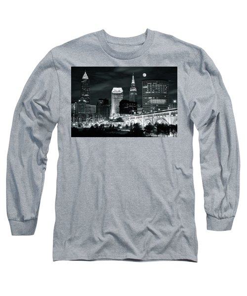 Cleveland Iconic Night Lights Long Sleeve T-Shirt by Frozen in Time Fine Art Photography