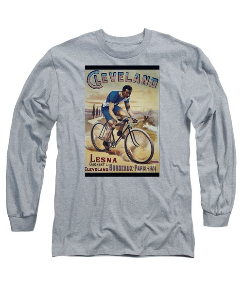 Cleveland Lesna Cleveland Gagnant Bordeaux Paris 1901 Vintage Cycle Poster Long Sleeve T-Shirt by R Muirhead Art