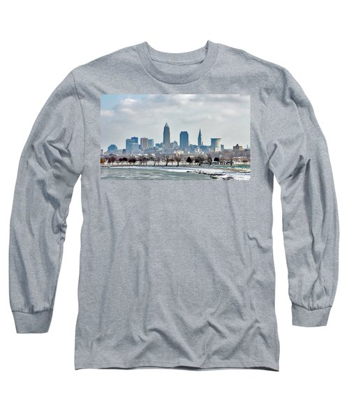 Cleveland Skyline In Winter Long Sleeve T-Shirt by Bruce Patrick Smith