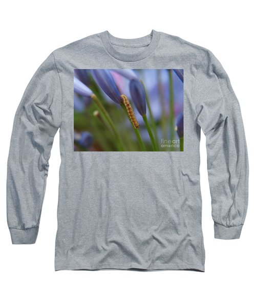 Climbing Caterpillar Long Sleeve T-Shirt by Trena Mara