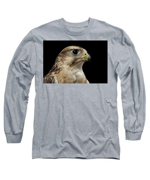 Close-up Saker Falcon, Falco Cherrug, Isolated On Black Background Long Sleeve T-Shirt