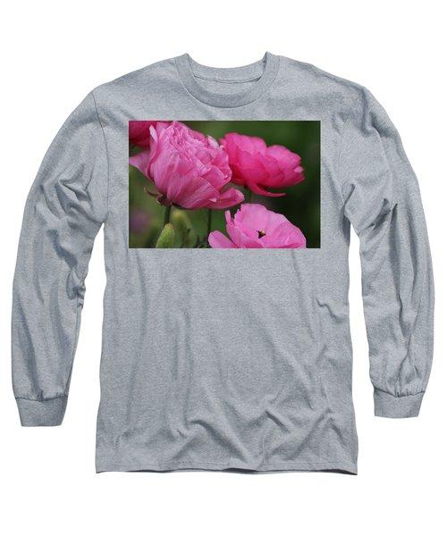 Closeup Deep Peony Pink Ranunculus Long Sleeve T-Shirt