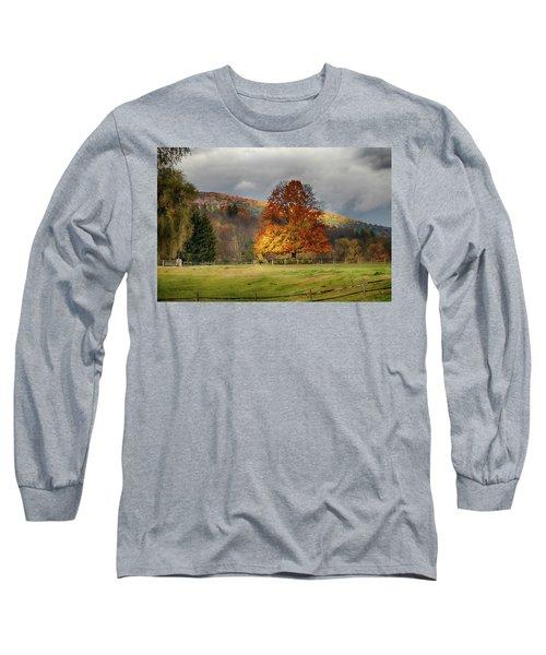Clouds Part Over Marsh Billings-rockefeller Nhp Long Sleeve T-Shirt