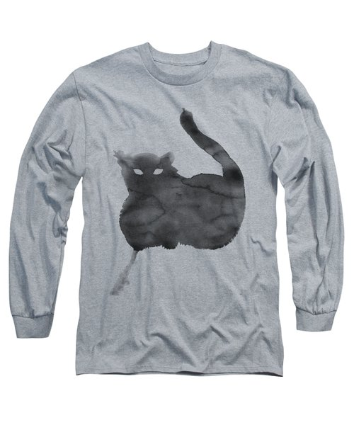 Long Sleeve T-Shirt featuring the painting Cloudy Cat by Marc Philippe Joly
