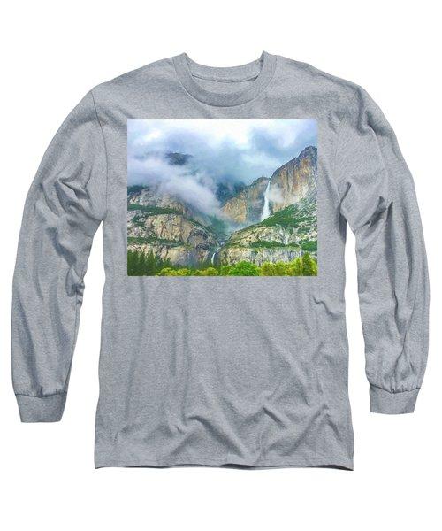 Cloudy Day At Yosemite Falls Digital Watercolor Long Sleeve T-Shirt