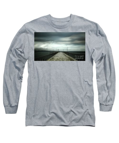 Long Sleeve T-Shirt featuring the photograph Cloudy Pier by Perry Webster