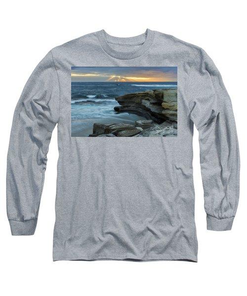 Cloudy Sunset At La Jolla Shores Beach Long Sleeve T-Shirt