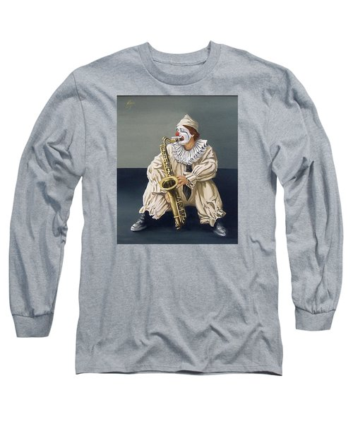 Long Sleeve T-Shirt featuring the painting Clown by Natalia Tejera