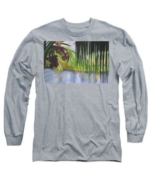 Long Sleeve T-Shirt featuring the painting Coconut Tree by Teresa Beyer