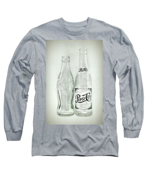 Coke Or Pepsi Black And White Long Sleeve T-Shirt by Terry DeLuco