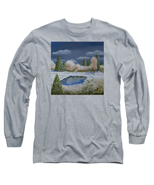 Long Sleeve T-Shirt featuring the painting Cold Sky 1 by Melvin Turner