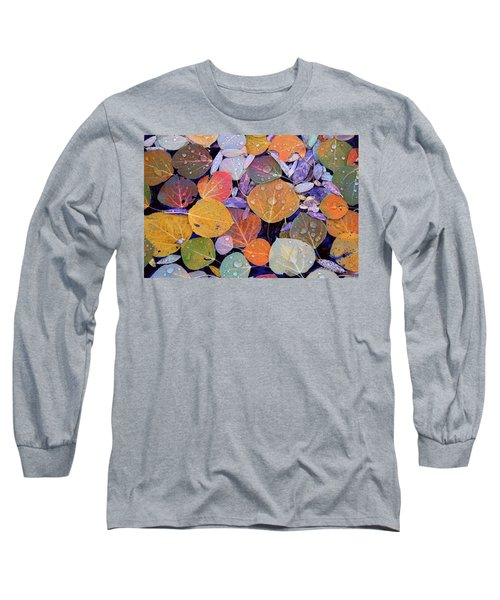 Collage Of Aspen Leaves At Mcgee Creek In The Eastern Sierras Long Sleeve T-Shirt