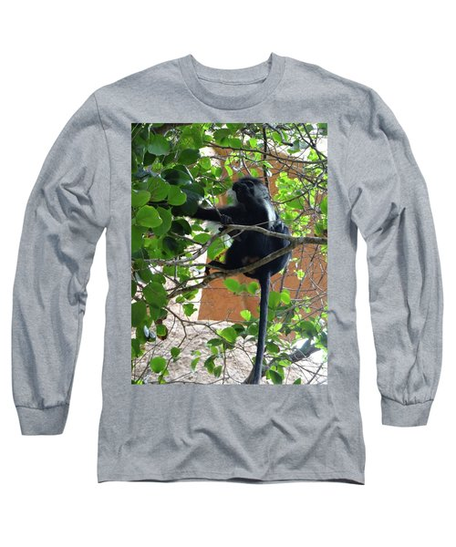 Colobus Monkey Eating Leaves In A Tree - Full Body Long Sleeve T-Shirt