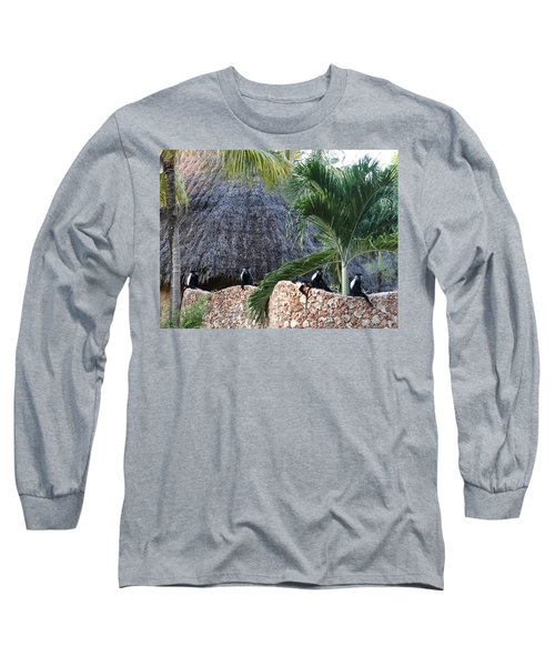 Colobus Monkey Resting On A Wall Long Sleeve T-Shirt