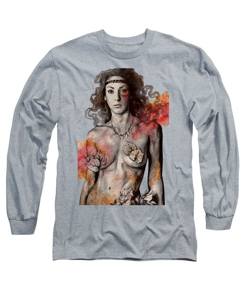 Colony Collapse Disorder - Topless Warrior Woman With Leaves On Nude Breasts Long Sleeve T-Shirt