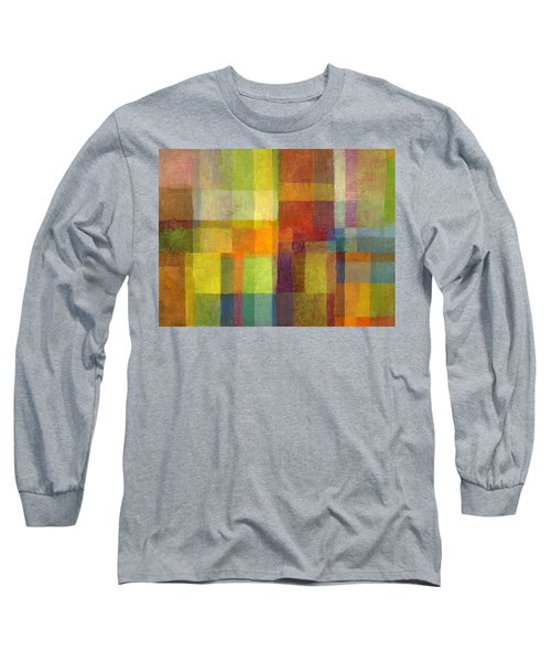 Long Sleeve T-Shirt featuring the painting Color Collage With Green And Red 2.0 by Michelle Calkins