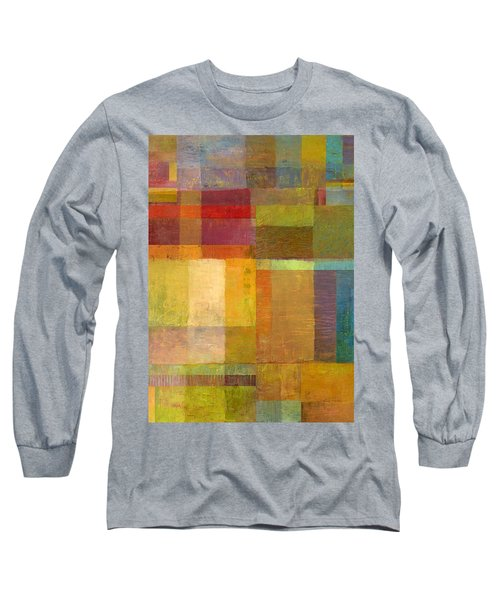 Long Sleeve T-Shirt featuring the painting Color Collage With Green And Red by Michelle Calkins