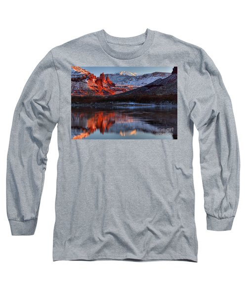 Long Sleeve T-Shirt featuring the photograph Colorado Red Tower Reflections by Adam Jewell