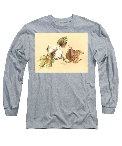 Colored Pencil Cotton Plant Long Sleeve T-Shirt