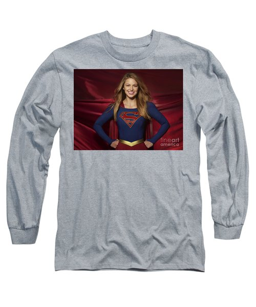 Colored Pencil Study Of Supergirl - Melissa Benoist Long Sleeve T-Shirt