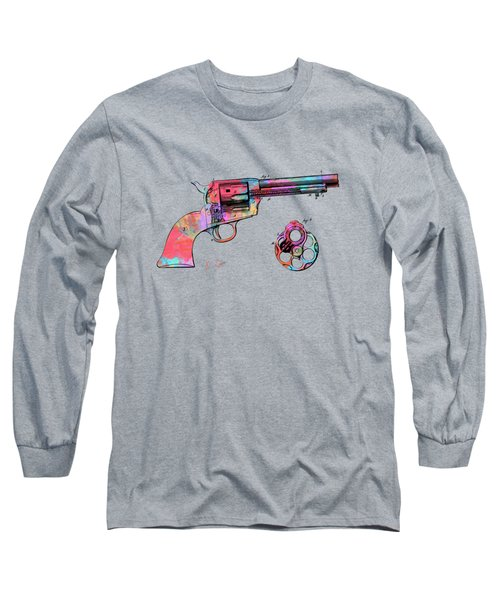 Colorful 1875 Colt Peacemaker Revolver Patent Minimal Long Sleeve T-Shirt