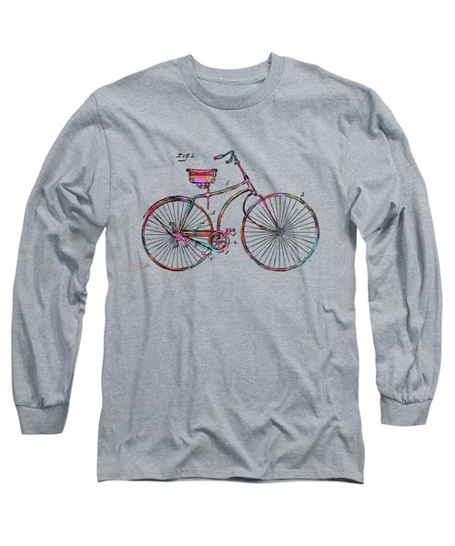 Colorful 1890 Bicycle Patent Minimal Long Sleeve T-Shirt