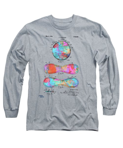 Colorful 1928 Baseball Patent Artwork Long Sleeve T-Shirt