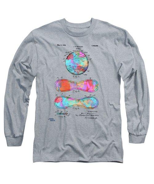 Colorful 1928 Baseball Patent Artwork Long Sleeve T-Shirt