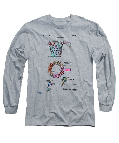Colorful 1951 Basketball Net Patent Artwork Long Sleeve T-Shirt