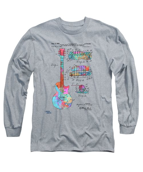 Colorful 1955 Mccarty Gibson Les Paul Guitar Patent Artwork Long Sleeve T-Shirt