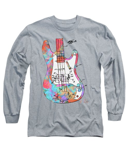 Colorful 1961 Fender Guitar Patent Long Sleeve T-Shirt