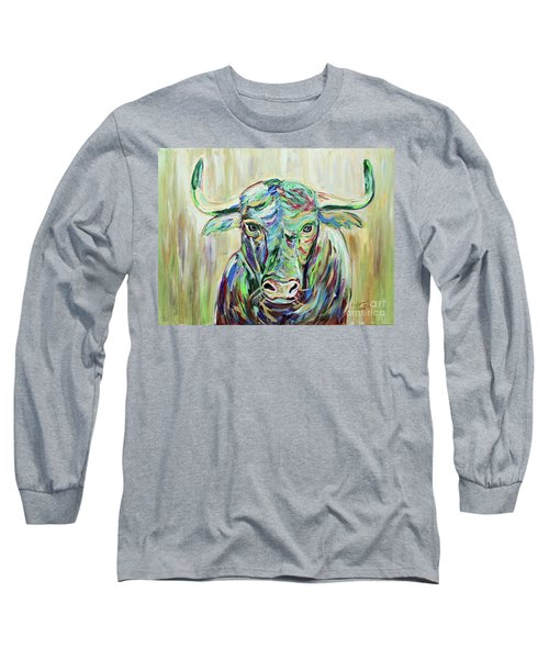 Long Sleeve T-Shirt featuring the painting Colorful Bull by Jeanne Forsythe