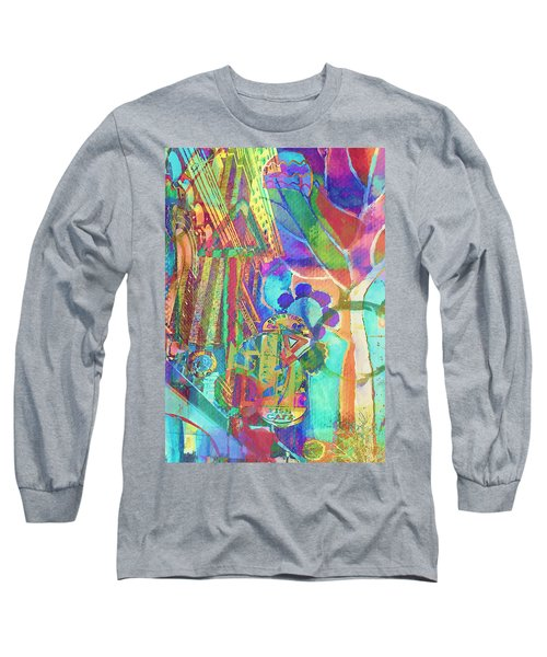 Colorful Cafe Abstract Long Sleeve T-Shirt by Susan Stone