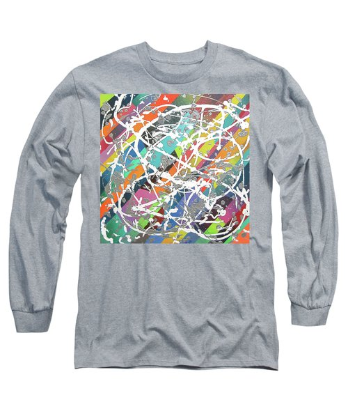 Colorful Disaster Aka Jeremy's Mess Long Sleeve T-Shirt by Jeremy Aiyadurai