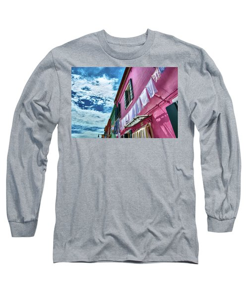 Colorful Facade With Laundry In Burano Long Sleeve T-Shirt