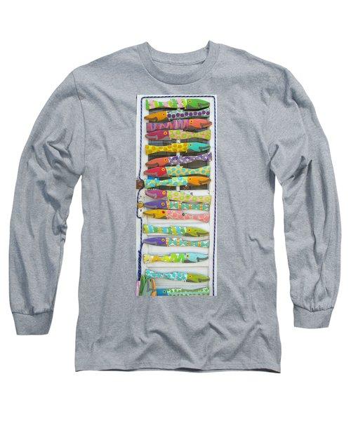 Colorful Fish Long Sleeve T-Shirt by Barbara McDevitt