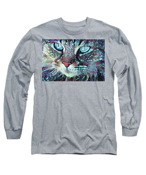 Colorful Flower Cat Art - A Cat Called Blue Long Sleeve T-Shirt by Peggy Collins