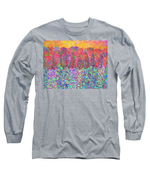 Long Sleeve T-Shirt featuring the mixed media Colorful Garden by Elizabeth Lock