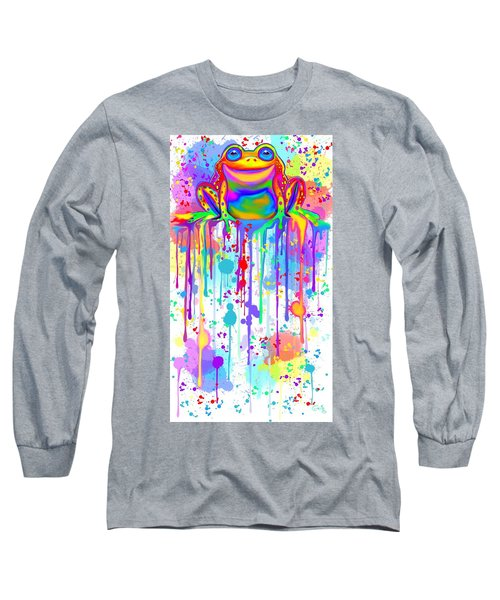 Long Sleeve T-Shirt featuring the painting Colorful Painted Frog  by Nick Gustafson