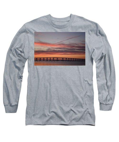 Colorful Sunrise Over Navarre Beach Bridge Long Sleeve T-Shirt