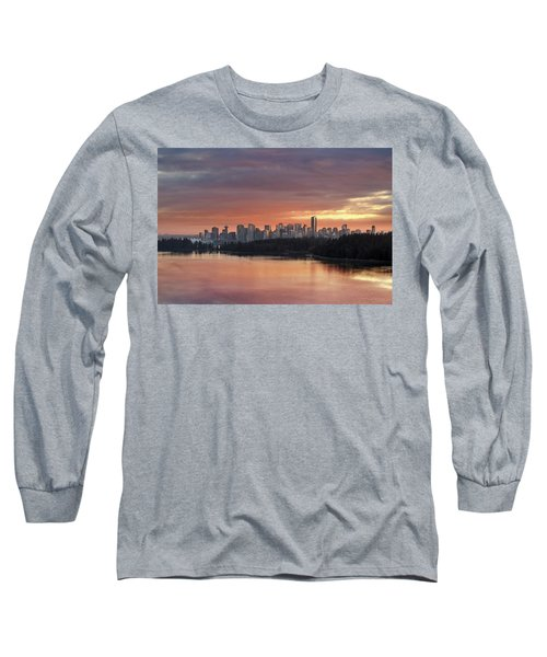 Colorful Sunset Over Vancouver Bc Downtown Skyline Long Sleeve T-Shirt