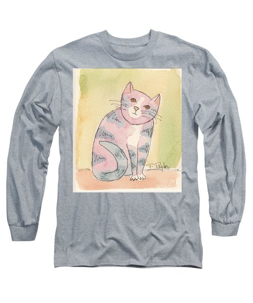Long Sleeve T-Shirt featuring the painting Colorful Tabby by Terry Taylor