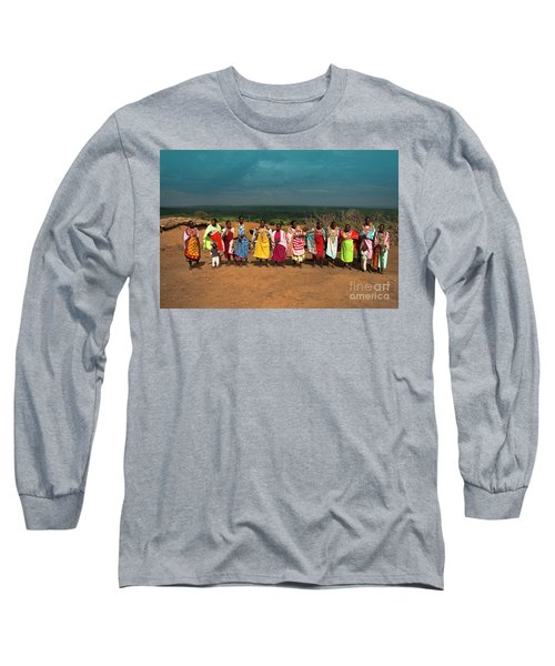 Long Sleeve T-Shirt featuring the photograph Colors And Faces Of The Masai Mara by Karen Lewis